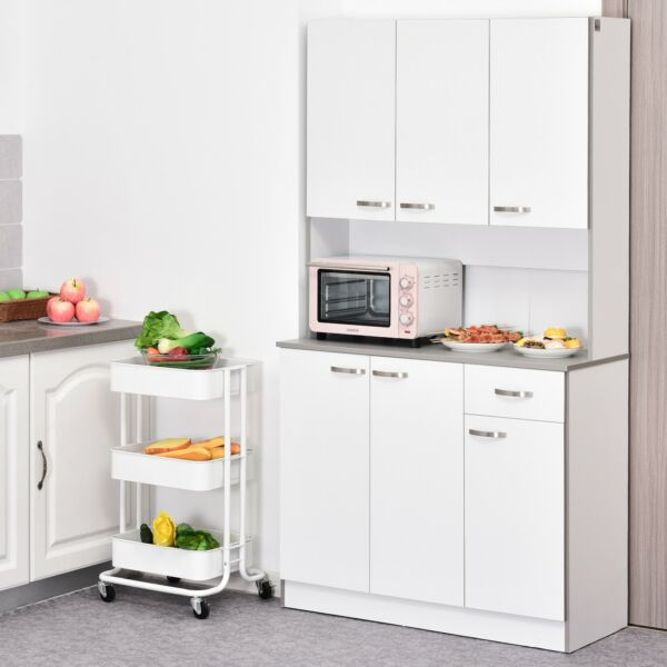HOMCOM 71quot; Freestanding Kitchen Buffet Hutch Cupboard with 6 White