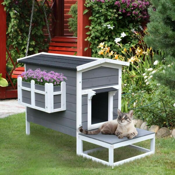 Grey Wood Luxury Raised Outdoor Indoor Dog Cage Cat House with Balcony $44.93
