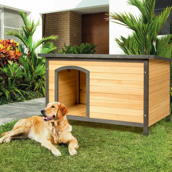 New Wood Dog House Extreme Weather Resistant Pet Log Cabin Home Outdoor Large $94.55