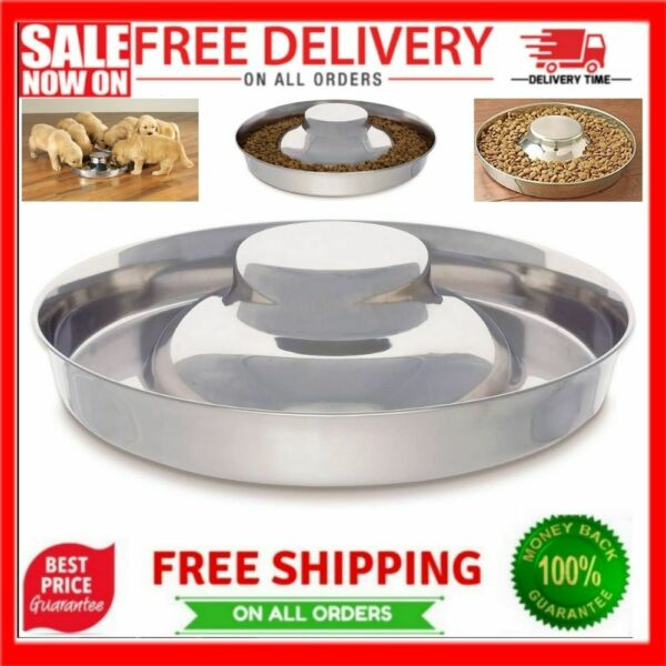 Dog Bowl 1 Puppy Litter Food Feeding Weaning Silver Stainless Dog Bowl Dish $17.68