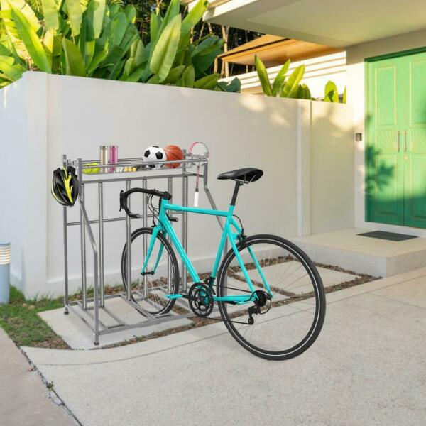 Bike Stand Rack 3 Bicycle Floor Parking Stand In OutdoorSports Storage Station $75.99