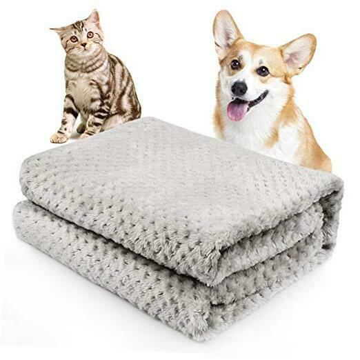 Fluffy Sherpa Dog Blankets Soft Washable Pet 27.5x39.4 Inch Pack of 1 Grey $11.88