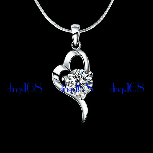 925 Sterling Silver Open Heart Curved with Crystal Pendant 24*11mmNecklace H736 $19.99