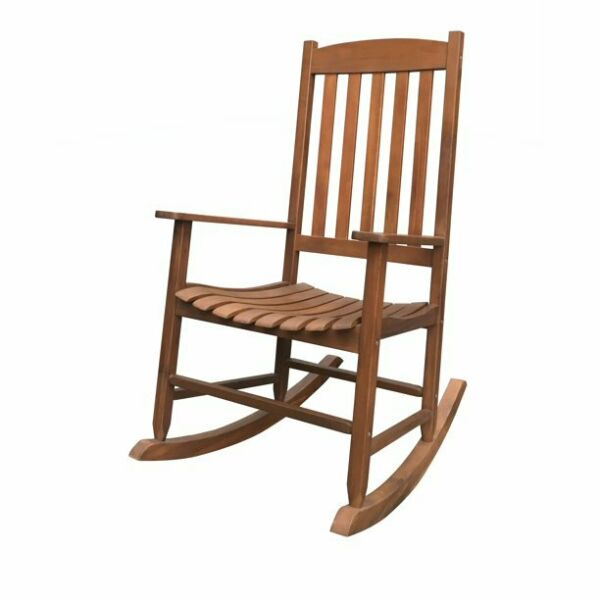 Mainstays Outdoor Wood Porch Rocking Chair Natural Yellow Color Weather Resist $97.00