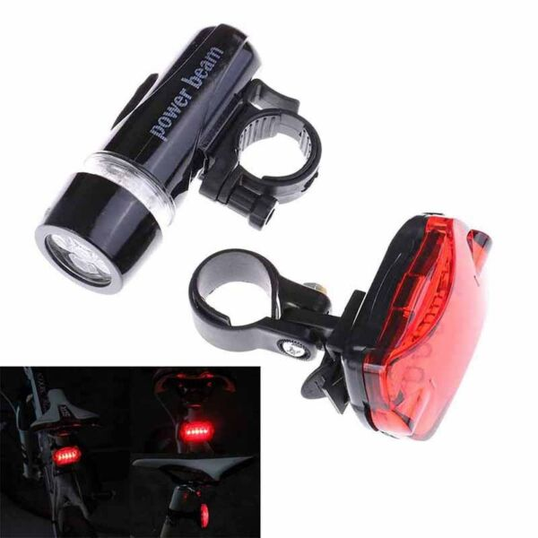 mountain bike 5led headlight black butterfly tail light bicycle accessories se= C $5.96