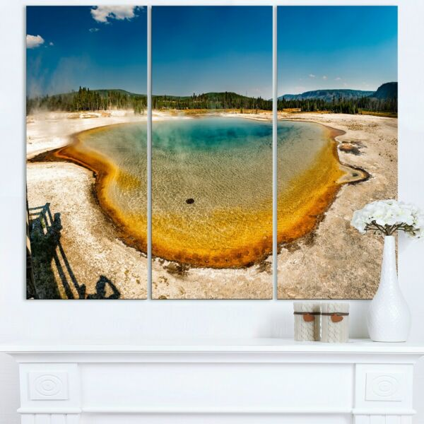 Yellowstone Heat Pool Panorama Landscape Print Wall Blue 36 in. wide x 28 in. $88.49