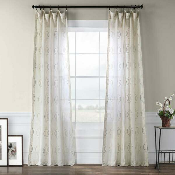 Exclusive Fabrics Suez Embroidered Faux Linen Sheer Curtain $51.74