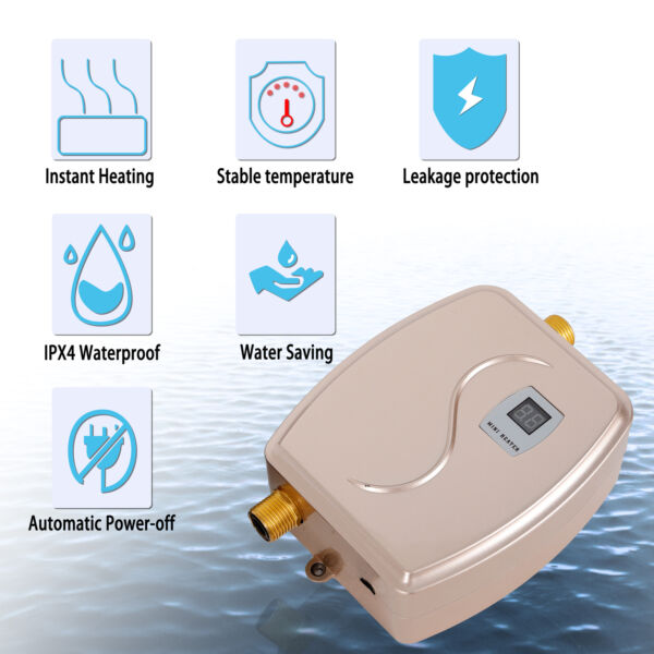 110V 3KW Kitchen Instant Electric Water Heater Tankless Hot Water Heater Shower $58.05