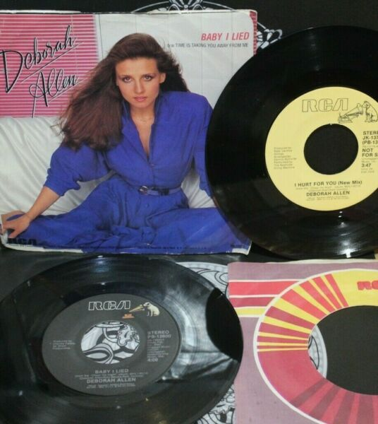 Deborah Allen 2 Baby I Lied 1983 and I Hurt For You new mix 1984 7quot; 45rpm $1.75