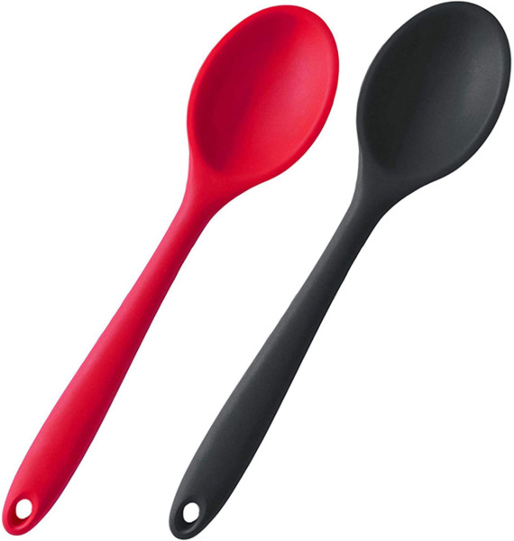 Silicone Nonstick Mixing Spoons Set 2 Heat Resistant Rubber Kitchen Cooking... $11.30