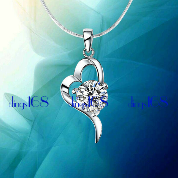 925 Sterling Silver Nickle Lead Free Heart Crystal Pendant Necklace Chain H736 $19.99