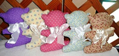 BEARS With BOWS~Handcrafted~Calico Designs Vary~NEW~FREE SHIP