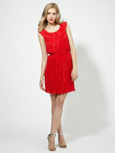 $178 CYNTHIA STEFFE 'Fiona' Red Pepper Accordian Pleated Dress sz 4 NWT