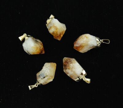 5 Gold Plated Natural Citrine Crystal Point Pendants Bulk Wholesale Lot