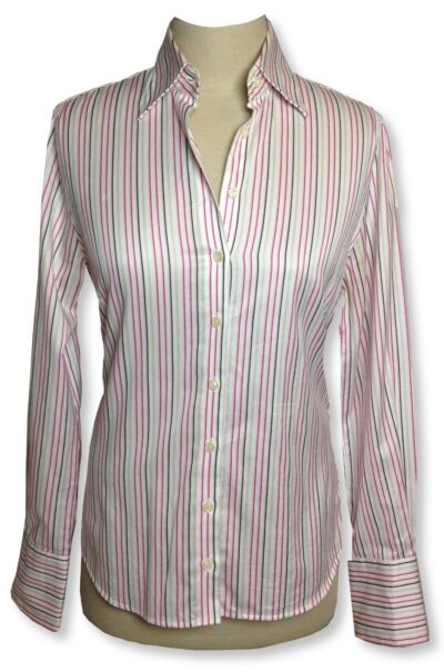 CHARLES TYRWHITT pink/white striped long sleeve no-iron blouse button down~Sz 4