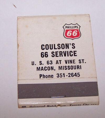 Vintage COULSON'S Phillips 66 Service Matchbook MACON MISSOURI