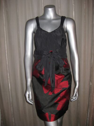 $138 MSSP MAX STUDIO Black/Red Floral Cocktail Dress szs 6 8 10 12 NWT