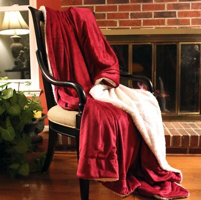 Holiday Red Super Soft Warm Sherpa Micro Fleece Throw Blanket