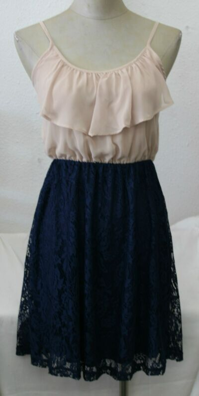 Beautiful cream chiffon top with blue lace bottom dress,made in USA, size XS,S,L