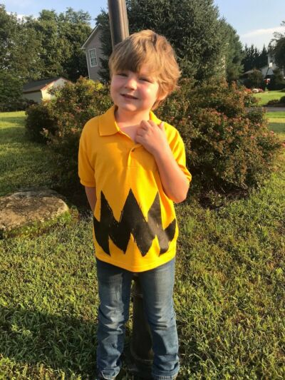 New Cartoon Charlie brown Black Zig Zag Boys Polo Shirt Halloween Costume Childs