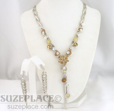 SILVER TONE BRAIDED HERRINGBONE CHAIN & AMBER RHINESTONES & EARRING SET