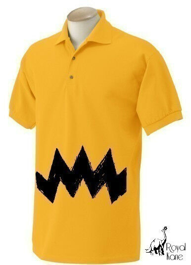 Retro NEW Charlie Yellow Zig Zag polo stripes Mens Men's peanuts vintage nice