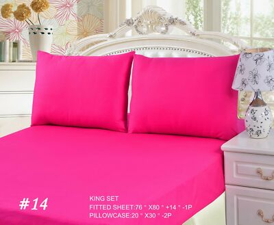 Tache Cotton Solid Hot Pink Fitted Deep Pocket Bed Sheet and Pillowcase Set