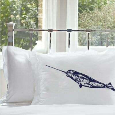 (2) Two Navy Blue Narwhale pillowcases sailor nautical decor home pillow