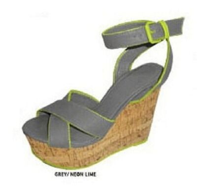 GREY NEON yellow GREEN CORK WEDGE SANDAL gladdiator flip flops SZ 5