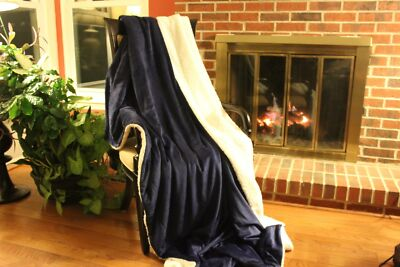 Tache Royal Blue White Super Soft Sherpa Winter Night Microfleece Throw Blanket