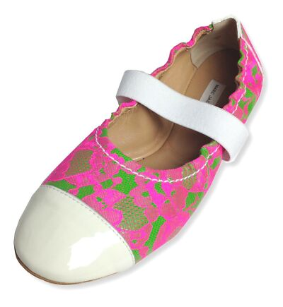 MARC JACOBS hot pink green lace patent-leather ballet flats Size IT35 US5 NEW
