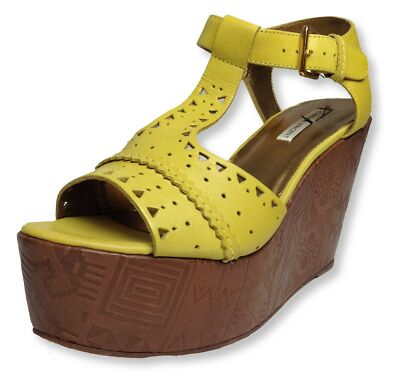"TWELFTH STREET CYNTHIA VINCENT yellow ""MAGGIE"" wedge leather sandal Size 9 NEW"