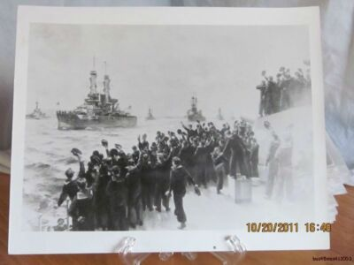 Reprint 8x10 Real Picture Photograph of Sailors Cheering the Fleet