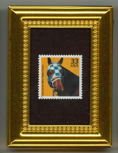 SECRETARIAT - A COLLECTIBLE GLASS FRAMED POSTAGE MASTERPIECE!