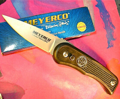 Meyerco Blackie Collins Free Hand knife 154CM blade pocket clip button lock USA