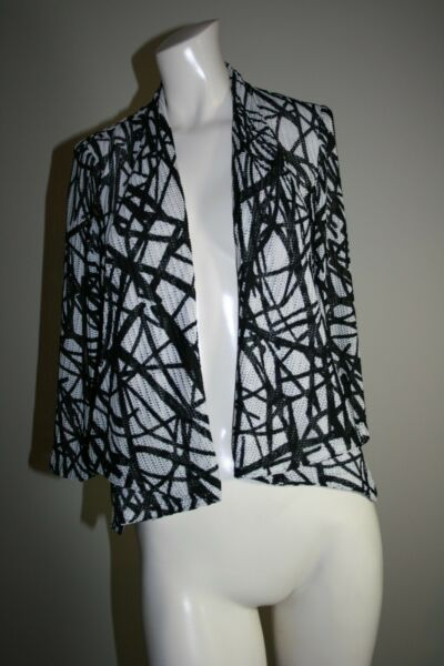Mona Leah Couture NY Paris Open Weave Black White Blazer Jacket Small