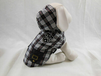 Dog Coat Hood & Fully Lined Black White & Red Plaid Pockets  Patch Small New