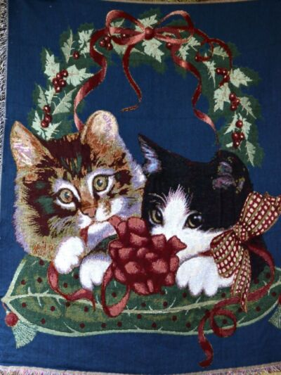 Tache 50 x 60 Pet Cat Lover Kitty Cats First Christmas Tapestry Throw Blanket
