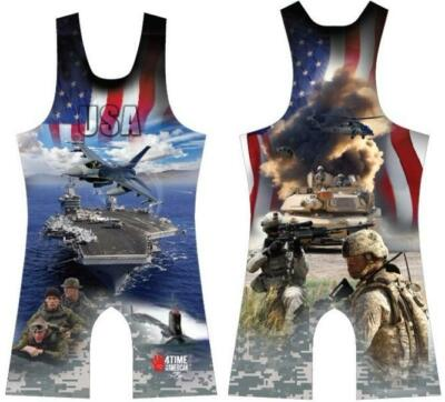 USA Army - Navy sublimated wrestling singlet, BLUE-Youth Boys Kids Men all sizes