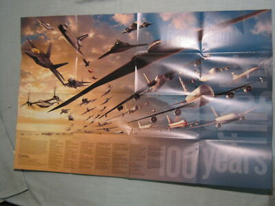 100 YEARS OF FLIGHT MAP POSTER National Geographic December 2003 MINT