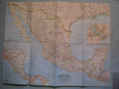 VINTAGE MEXICO & CENTRAL AMERICA WALL MAP National Geographic October 1961 MINT