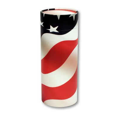 American Flag Patriotic Biodegradable Ash Scattering Tube Cremation Urn Keepsake