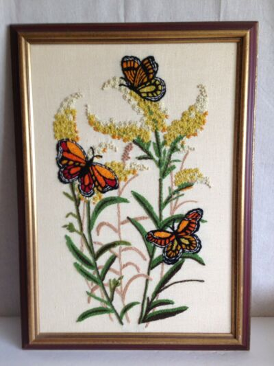 Butterflies flowers completed stitchery framed 1960s