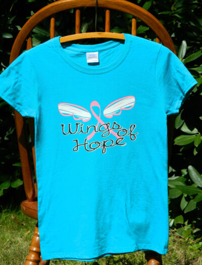 "Breast Cancer Awareness ""WINGS OF HOPE"" Pink Ribbon Missy Fit T-Shirt S-3XL tee"