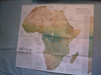 AFRICA PHYSICAL MAP+ THE HUMAN FOOTPRINT National Geographic September 2005 XLNT