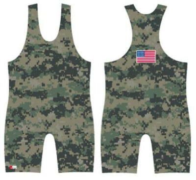 Woodland MARPAT Camo - sublimated wrestling singlet by 4 Time.  All sizes