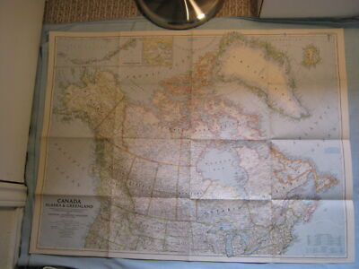 VINTAGE CANADA ALASKA & GREENLAND LARGE WALL MAP National Geographic June 1947