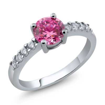 Ring With Round Pink Cubic Zirconia Avaiable in size 6 7 8