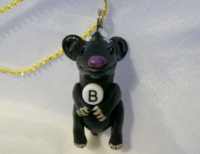 B IS FOR BADGER ORNAMENT polymer clay art doll ooak decoration pendant squirrel
