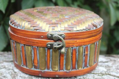 COOL! Vintage Handmade Woven Trinket Jewelry Watch Box Brass Wicker Wood Basket